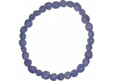 Pulsera de Calcedonia azul (bolas irregulares de 6mm)